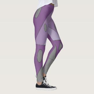 Geometric Pattern Triangle Ovals Purple Gray Funny Leggings