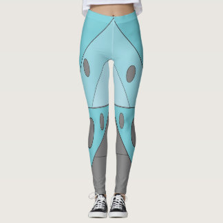 Geometric Pattern Triangles Blue Turquoise Funny Leggings