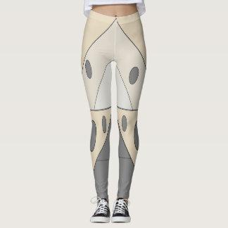 Geometric Pattern Triangles Ivory White Gray Funny Leggings