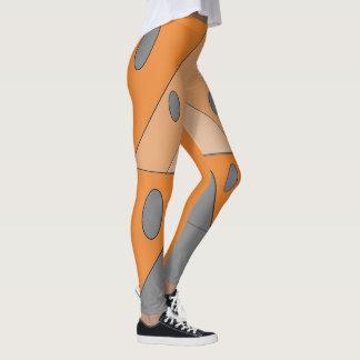 Geometric Pattern Triangles Oval Orange Gray Funny Leggings