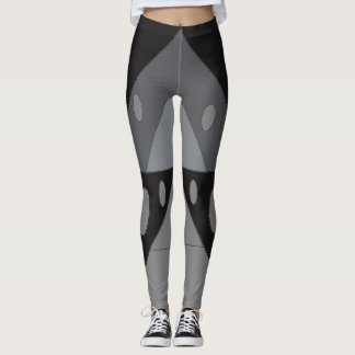 Geometric Pattern Triangles Ovals Black Gray Funny Leggings