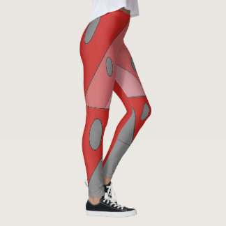 Geometric Pattern Triangles Ovals Black Red Funny Leggings