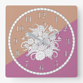 geometric pattern with bouquet into sends it square wall clock