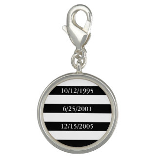 Geometric Patterns Black and White Stripes Charms