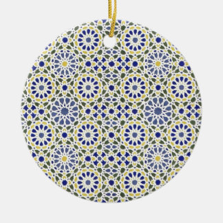 Geometric Patterns in Yellow and Blue Ceramic Ornament
