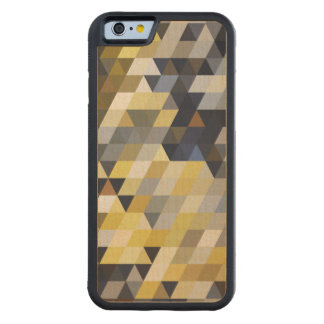 Geometric Patterns | Yellow and Blue Triangles Carved Maple iPhone 6 Bumper Case