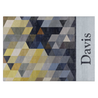 Geometric Patterns | Yellow and Blue Triangles Cutting Board