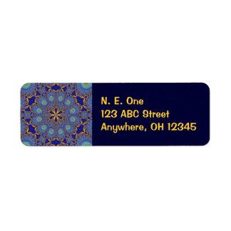 Geometric Peacock Fractal Label Return Address Label