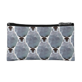 Geometric Penguin Huddle Print Makeup Bag