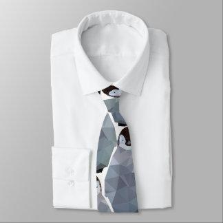 Geometric Penguin Huddle Print Tie
