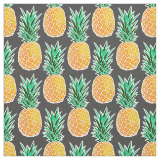 Geometric Pineapple on Black Fabric Print