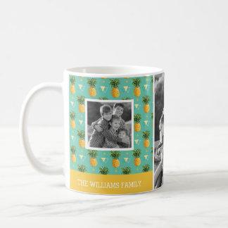 Geometric Pineapple Pattern | Family Photos & Text Coffee Mug