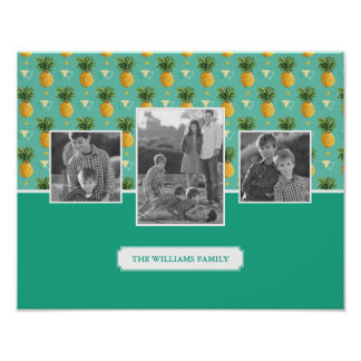Geometric Pineapple Pattern | Family Photos & Text Poster