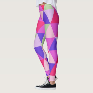 Geometric Pink and Purple Triangle Pattern Leggings
