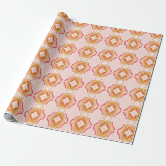 Geometric Pink Flowers Wrapping Paper