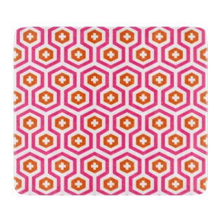 Geometric Pink Orange Hexagon & Cross Pattern Cutting Board