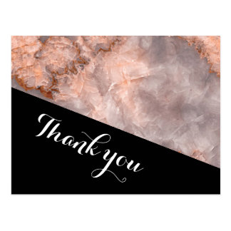Geometric pink  quartz wedding thank you postcard