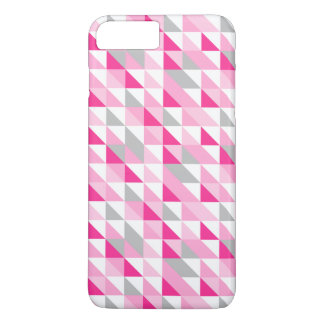 Geometric Pink White Gray Triangles Pattern iPhone 7 Plus Case