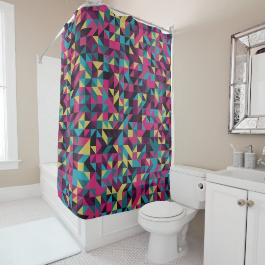 Geometric Pinwheel Pattern Shower Curtain