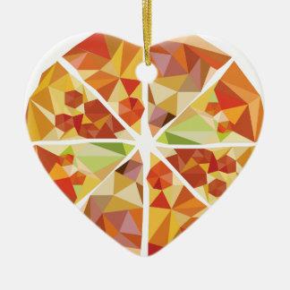 Geometric pizza ceramic heart ornament