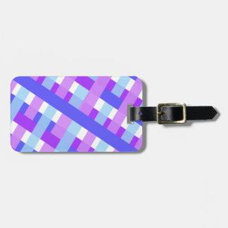 geometric plaid gingham diagonal luggage tag