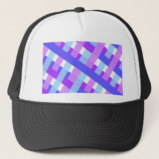 geometric plaid gingham diagonal trucker hat