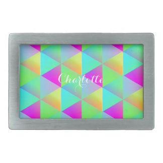 Geometric Popping Rainbow Block Cubes Patterned Belt Buckle