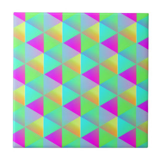 Geometric Popping Rainbow Block Cubes Patterned Ceramic Tile