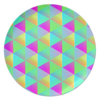 Geometric Popping Rainbow Block Cubes Patterned Party Plate
