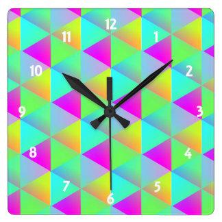 Geometric Popping Rainbow Block Cubes Patterned Wallclocks