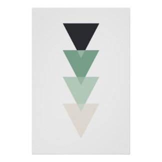 Geometric print. Modern teal. Triangle wall art