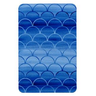 Geometric Prussian Blue Watercolor Fan Shapes Magnet