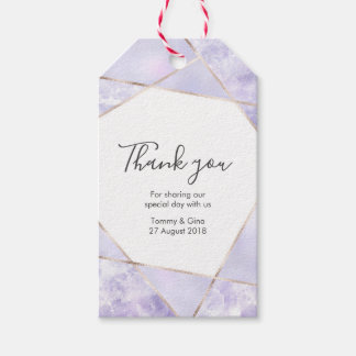 Geometric Purpl personalized Thank You Favour tags