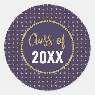 Geometric Purple and Gold Graduation Class Reunion Classic Round Sticker