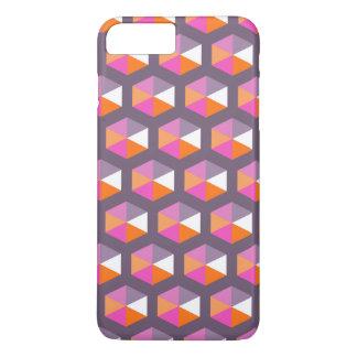 Geometric Purple and Orange Hexagon Pattern iPhone 7 Plus Case