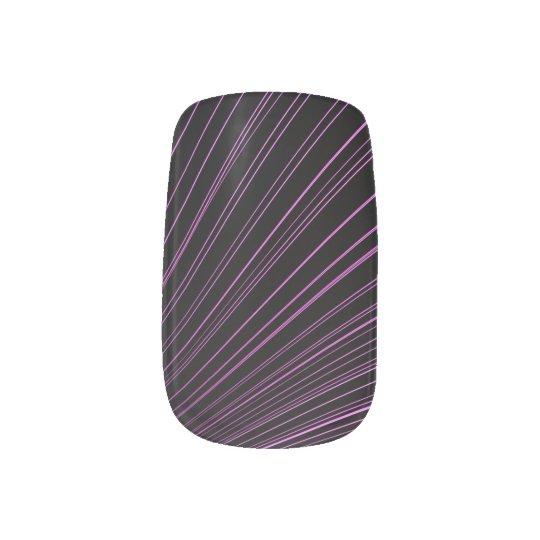 Geometric Purple Lines Black Minx Nail Art