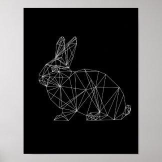 Geometric Rabbit Design Black White Minimal Art Poster