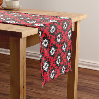 Geometric Red and Black Table Runner