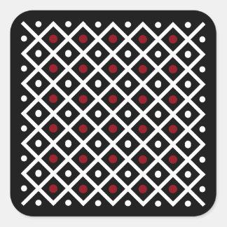 Geometric Red Circles & White Squares Pattern Square Sticker