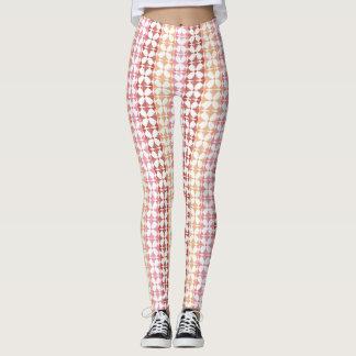 Geometric red ikat stripes pattern leggings
