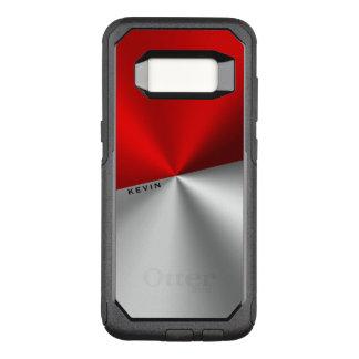 Geometric Red & Silver Metallic Look OtterBox Commuter Samsung Galaxy S8 Case