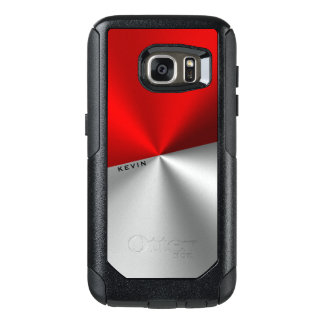 Geometric Red & Silver Metallic Look OtterBox Samsung Galaxy S7 Case