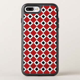Geometric Red, White, Black Diamond Pattern OtterBox Symmetry iPhone 7 Plus Case