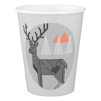 Geometric Reindeer Christmas Party Cups