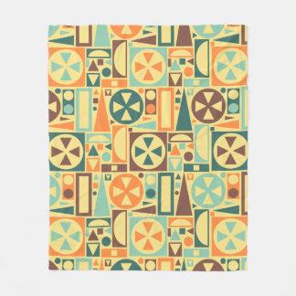 Geometric Retro 1950s Midcentury Modern Abstract Fleece Blanket