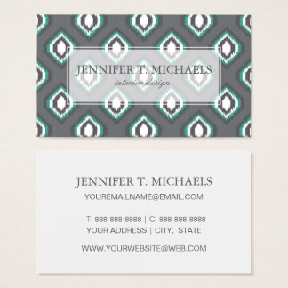 Geometric retro ikat tribal pattern business card