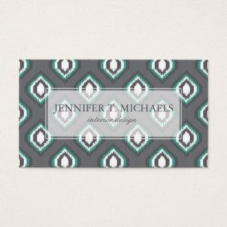 Geometric retro ikat tribal pattern business card