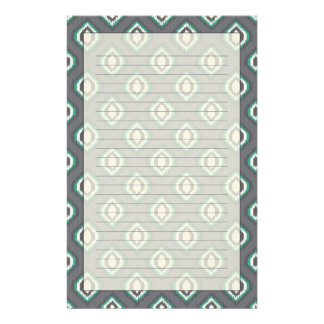 Geometric retro ikat tribal pattern stationery