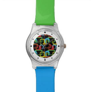 Geometric Retro Multicolored Pattern Watch