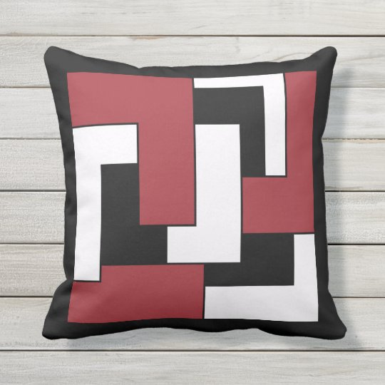 Geometric Retro Red Black White Graphic Abstract L Throw Pillow